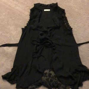 Black, frill lace bottom, sleeveless, peasant top.